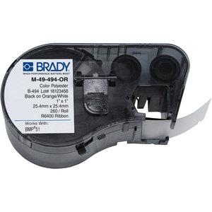 Brady M-49-494-OR LBL POLYESTER 1INHX1INW ORANGE