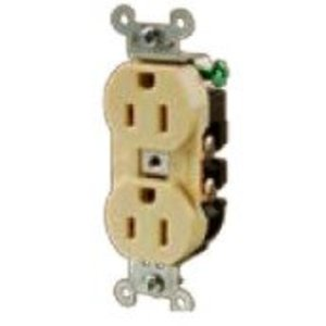 Hubbell-Kellems 5252AB Duplex Receptacle, 15A, 125V, 5-15R, Brown
