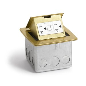 Lew PUFP-CT-B Counter Box Assembly, GFI Receptacle, Brass