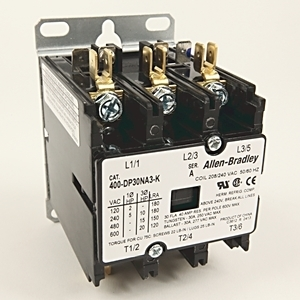 Allen-Bradley 400-DP30NA3-K Contactor, Definite Purpose, 30A, 3P, 208/240VAC Coil, 600VAC Rated