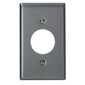"Leviton 84104-40 Single Receptacle Wallplate, 1-Gang, 1.406"" Hole, 302 Stainless Steel, Oversize"