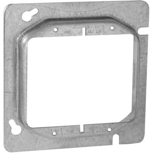 "Hubbell-Raco 840 4-11/16"" Square Cover, 2-Device, Mud Ring, 3/4"" Raised, Drawn"