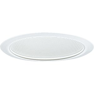 "Progress Lighting P8066-28 Step Baffle Trim, Single Vertical Lamp, 6"", White Baffle/White Trim"