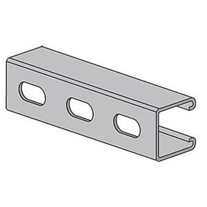 "Power-Utility Products AS-132-OS-10-EG Channel, Oval Slots, Steel, Electro-Galvanized, 1-5/8"" x 1-5/8"" x 10'"