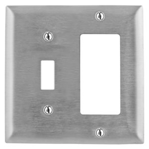 Hubbell-Kellems SS126 Combination Wallplate, 2-Gang, Toggle/Decora, Stainless Steel