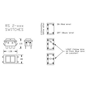 GE Lighting RS2-37L Low Voltage Switch, 3A, 28VAC, White with Black Trim