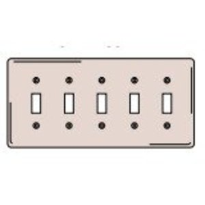 Hubbell-Bryant SS5 Toggle Switch Wallplate, 5-Gang, Stainless Steel, Standard Size