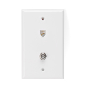 40259W COMBO WALL JACK PHONE & CABLE