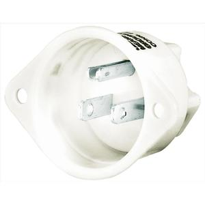 Hubbell-Bryant 5278 Flg-inlet, 15a 125v, 5-15p, Wh
