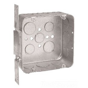 "Cooper Crouse-Hinds TP557 4-11/16"" Square Box, Drawn, Metallic, 2-1/8"" Deep, With Bracket"