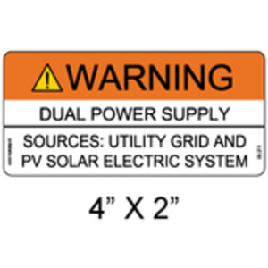 PV Labels 05-211 WARNING DUAL POWER SUPPLY SOURCES UTILITY GRID