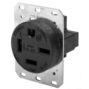 Hubbell-Kellems HBL8460A Receptacle, 60A, 3PH 250V, 15-60R, 3P4W Grounding