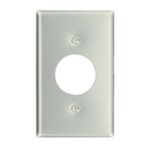 "Leviton 83004 1-Gang Single Rcpt Wallplate, (1) 1.406"" Hole, Aluminum"
