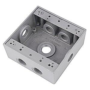 "Red Dot 2IH7S2-1 Weatherproof Outlet Box, 2-Gang, 2-1/16"" Deep, (7) 1/2"" Hubs"