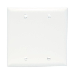 ON-Q TP23-W Blank Wallplate, 2-Gang, Nylon, White