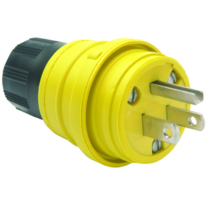 Woodhead 14W47 Plug Rubber, 15A, 125V, NEMA 5-15R, Yellow