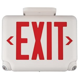 Hubbell-Dual-Lite EVCUGW Emergency Combo Exit/Light, LED, White, Green Letters