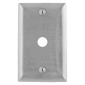"Hubbell-Kellems SS11 Telephone/Coax Wallplate, 1-Gang, .41"" Hole, Stainless Steel"