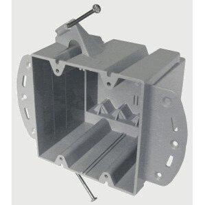 """Cantex EZ48DN Switch/Outlet Box, 2-Gang, Depth: 3-7/8"""", Nail-On, Non-Metallic"""