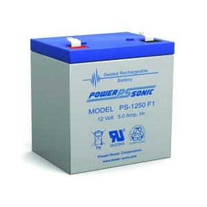 Power-Sonic PS-1250F1 Rechargeable Sealed Lead Acid Battery, 12V, 5.5Ah