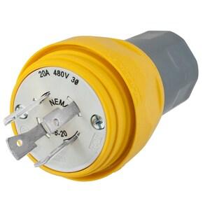 Hubbell-Wiring Kellems HBL26W76 PLUG, W/TIGHT, 3P 20A 480V, L16-20P, YL