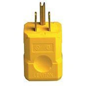Leviton 5256-VY 15 Amp Plug, 125V, 5-15P, Nylon, Yellow, Industrial Grade, Python