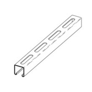 "Eaton B-Line B22S-240GLV Channel with 3"" Slots, Steel, Pre-Galvanized, 1-5/8"" x 1-5/8"" x 20'"