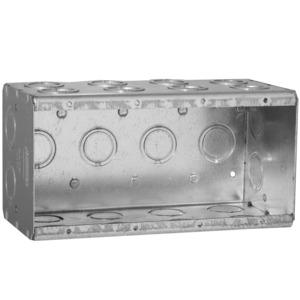 "Hubbell-Raco 698 Masonry Box, 4-Gang, 3-1/2"" Deep, 1/2 "" & 3/4"" KOs, Metallic"