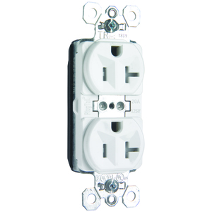 Pass & Seymour PTTR5362-W Plugtail Tamper Resistant Duplex Receptacle, 20A, 125V, Spec Grade, White