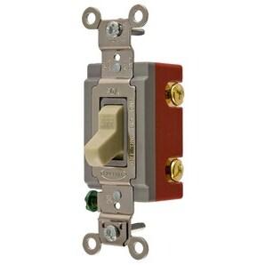 Hubbell-Kellems HBL1221I Single Pole Switch, 20A, 120/277V, Ivory, Extra Heavy Duty