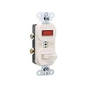 Pass & Seymour 692-LA Switch/Pilot Light Combo, 15A, Light Almond