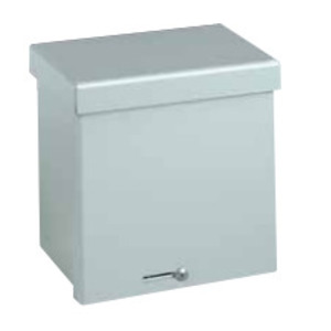 "Hubbell-Wiegmann RSC080804GNK Enclosure, NEMA 3R, Lift-Off Screw Cover, 8"" x 8"" x 4"", Steel, No KO"