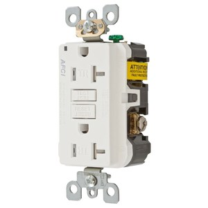 Hubbell-Wiring Kellems AFR20TRW Tamper Resistant Arc Fault Duplex Receptacle, 20A, White