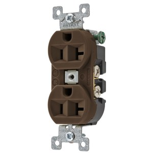 Hubbell-Bryant 5362BN Duplex Receptacle, 20A, 125V, Brown, Commercial/Industrial