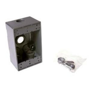 """Hubbell-Raco 5321-0 Weatherproof Outlet Box, 1-Gang, 2"""" Deep, (4) 1/2"""" Hubs, Die Cast"""