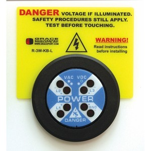 Grace Technologies R-3W-KB-L Voltage Indicator, Warning Label, Adhesive Back, for R-3W-KB