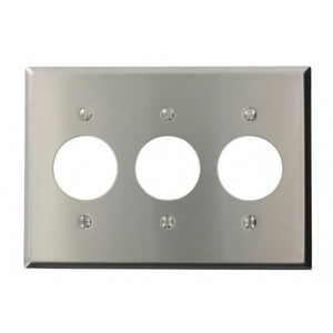"Leviton S73-N 3-Gang Single Rcpt Wallplate, (3) 1.406"" Hole, 302 S. Steel"