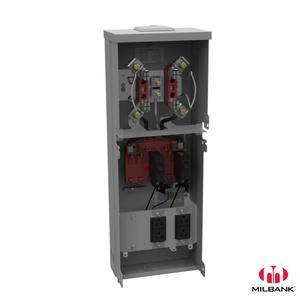 Milbank U5101-XL-11GR Metered Power Unit, Pedestal Base, 125A, Ringless, 6 Circuits, 240VAC