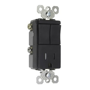 Pass & Seymour TM8118-TRBKCC (2) Switch / (1) Receptacle Combo, 15A, Black *** Discontinued ***