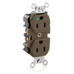 Leviton 8200-H Hospital Grade Duplex Receptacle, Slim Design, 15A, 125V, Brown