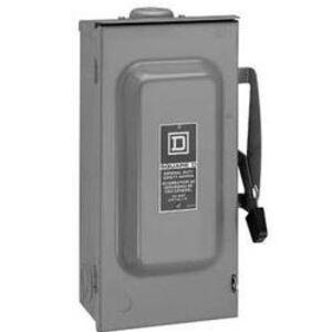 Square D D322NRB Disconnect Switch, Fused, NEMA 3R, 60A, 3P, 240VAC, General Duty