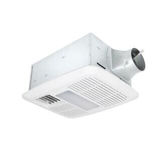Delta Products RAD110LED 110 CFM Single Speed Exhaust Fan/Dimmable LED Light w/Heater
