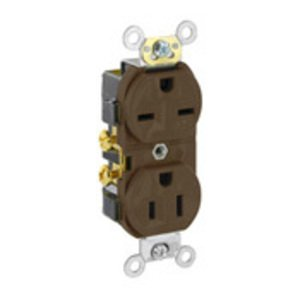 Leviton 5031 15A Dual Voltage Duplex Receptacle, 125/250V, Brown, Self-Grounding