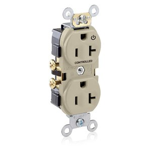 "Leviton CR020-1PT (1) Marked ""Controlled"" Duplex Receptacle, 20A, 125V, Light Almond"