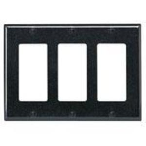 Leviton 80411-E Decora Wallplate, 3-Gang, Thermoset, Black