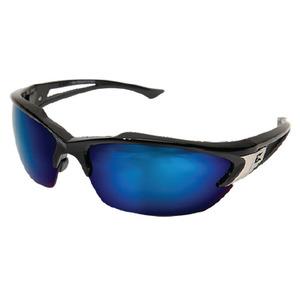 Wolf Peak SDK118 Khor Protective Eyewear, Half Frame, Gloss Black Frame/Blue Mirror Lens