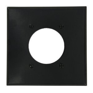"Leviton 80526-BLK 2-Gang Single Rcpt Wallplate, (1) 2.150"" Hole, BK Thermoset"