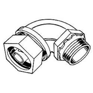 "Hubbell-Raco 3436 Liquidtight Connector, 4"", 90°, Malleable Iron"