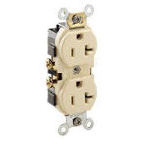 Leviton CR20-IS 20A Duplex Receptacle, 125V, 5-20R, Ivory, Side Wired, Spec Grade