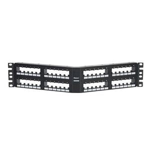 Panduit CPPA48FM6VNSBLX Patch Panel, Angled, Flush, Modular, 48 Port, 6-pack Inserts, Black
